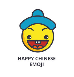 happy chinese emoji line icon sign vector image
