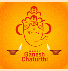 Happy ganesh chaturthi festival greeting design vector