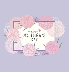happy mothers day design of pink carnation flowers vector image
