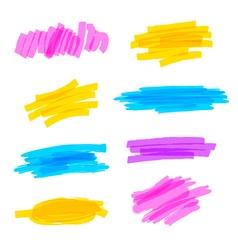 Highlighter marker strokes vector image