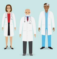 Hospital staff concept group of old doctor and vector