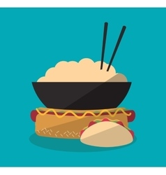 Hot dog and icon set of fast food concept vector
