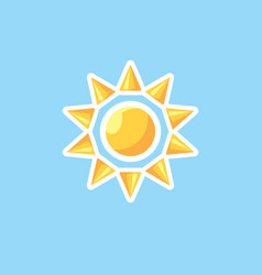 icon in style linework sun on blue sky vector image