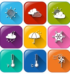 Icons with the different weather conditions vector