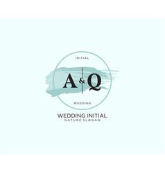 Initial aq letter beauty logo handwriting vector