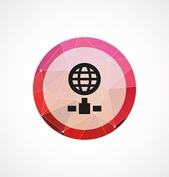 internet circle pink triangle background icon vector image