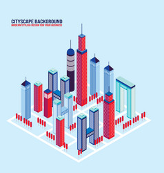 isometric city buildings and architecture vector image