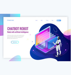 Isometric robots man with artificial intelligence vector