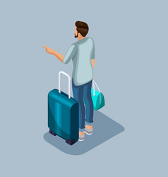 Isometric young man at the airport is vector