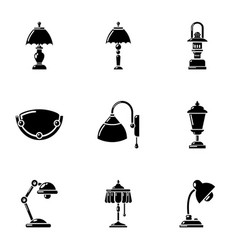 Lighting fixture icons set simple style vector