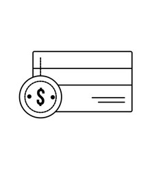 line credit card electronic with coin cash money vector image