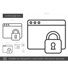 Locked page line icon vector image