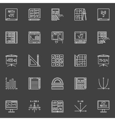 Mathematics line icons vector image