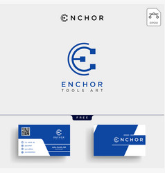 Minimal e initial logo template and business card vector