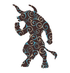 Minotaur pattern silhouette ancient mythology vector