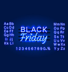 Neon black friday text banner night sign board vector