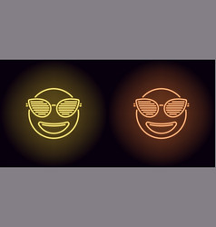 neon stylish emoji in yellow and orange color vector image