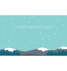 New Years hill scenery flat vector