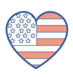 Nice heart with usa flag inside vector