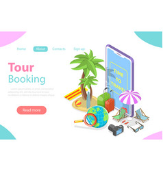 Online tour booking flat isometric concept vector
