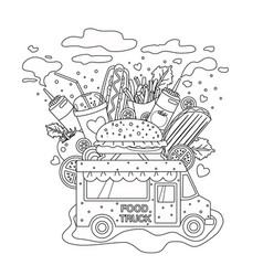 Outlined doodle anti-stress coloring book page vector
