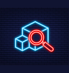 Parcel tracking website neon icon online package vector