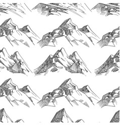 Pencil sketched mountains seamless pattern vector