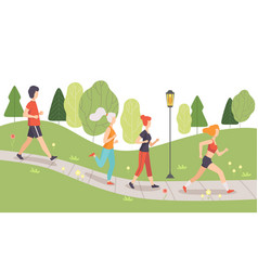 People running and jogging in park physical vector