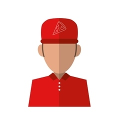 Portrait delivery pizza boy red uniform cap vector