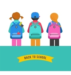 Poster with students kids backpacks vector