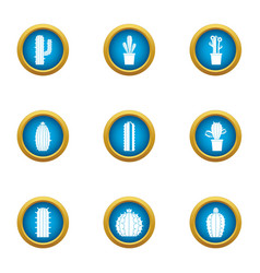 Prickly pear icons set flat style vector