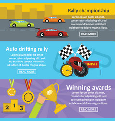racing auto banner horizontal set flat style vector image