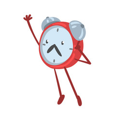 Red alarm clock character standing with raised vector