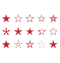 red star set vector image