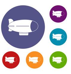Retro airship icons set vector