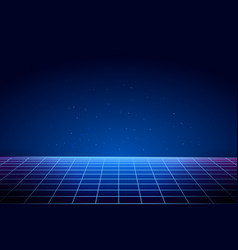 retro vaporwave background cyberpunk laser grid vector image
