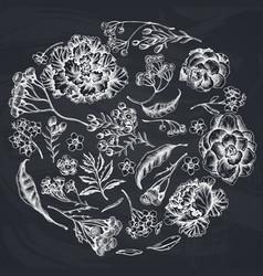 Round floral design with chalk wax flower forget vector