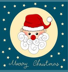 santa claus on indigo blue christmas greeting card vector image