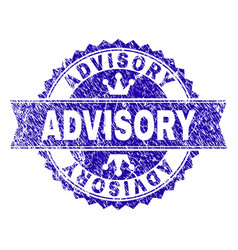 Scratched textured advisory stamp seal with ribbon vector