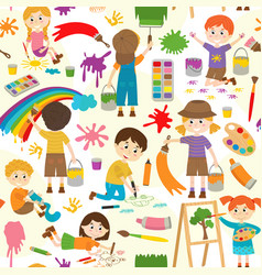 seamless pattern with drawing elements vector image