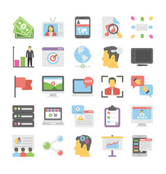 Seo and digital marketing colored icons 9 vector