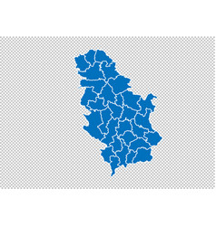 serbia map - high detailed blue map with vector image