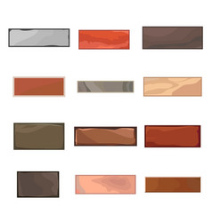 set 12 different bricks in cartoon style vector image