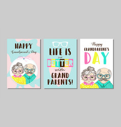 set cards happy grandparents day vector image