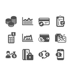 set finance icons such as currency exchange vector image