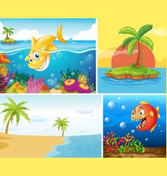 Set ocean nature background vector