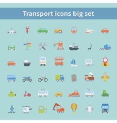 Set of flat transportation vehicles icons vector