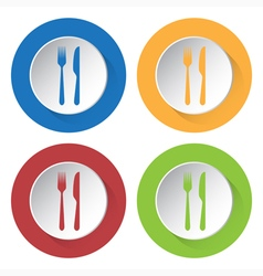 set of four icons - cutlery vector image
