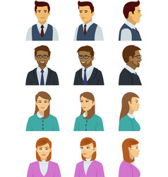 set of various human face with many poses and vector image