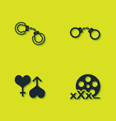 Set sexy fluffy handcuffs film reel with male vector
